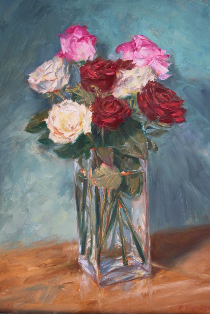 Peter Flanagan - Roses and Glass Vase